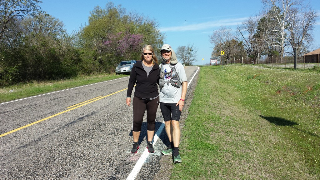 Sandy and Darren at the Race Across USA halfway point in Texas