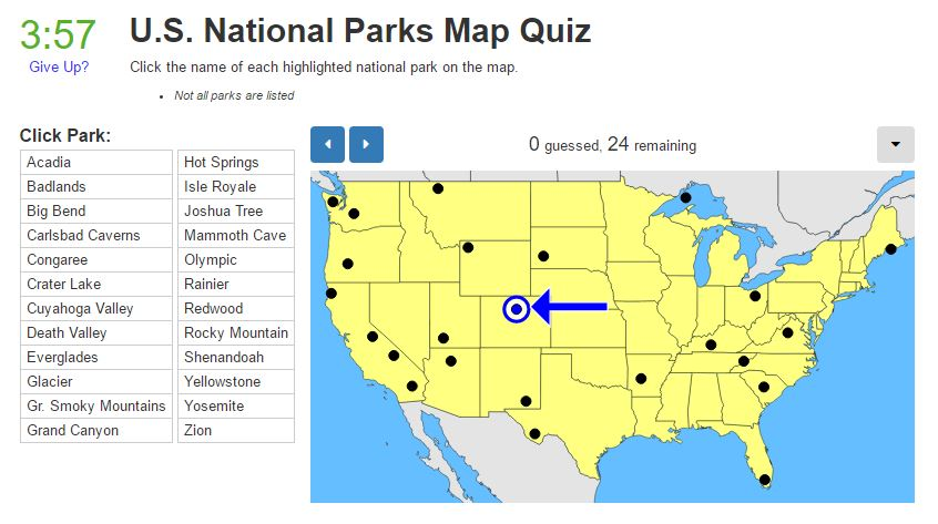 Tuesday Quiz US National Parks Map Trekking the Planet