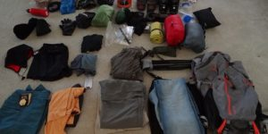 Gear laid out on floor